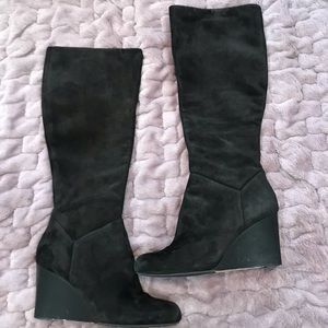 Cole Hann Cora Wedge Boot Black Suede